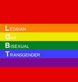 official flag with abbreviation lgbt vector image