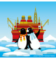 penguins on an ice floe are photographed vector image vector image