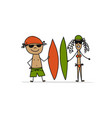 people with surfboards sketch for your design vector image vector image
