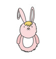 pink fluffy rabbit adorable toy icon vector image vector image