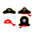 pirates cap set hat buccaneer bones and skull vector image vector image