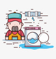 plumber repair with mechanical tools vector image