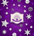 purple abstract celebration card with silver stars vector image