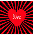 Red heart with sunburst Love card vector image