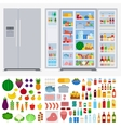 Refrigerator full of different products vector image vector image