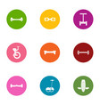 riding icons set flat style vector image vector image