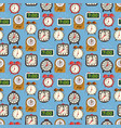 seamless pattern with colorful alarm clocks on vector image vector image