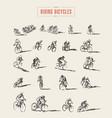 set hand drawn bicyclist rider men sketch vector image