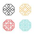 set of hexagon korean pattern window frame vector image vector image