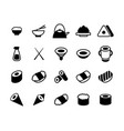 set of monochrome japanese food and sushi icons vector image vector image