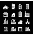 set various buildings white on dark vector image vector image