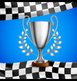 silver winner trophy realistic poster vector image vector image