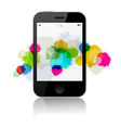 Smartphone with Splashes Isolated on White B vector image vector image