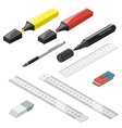 Stationery isometric icons set vector image vector image