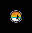 sunset beach with mermaid girl silhouette for bar vector image
