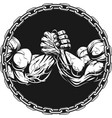 symbol of the competition on armwrestling vector image vector image