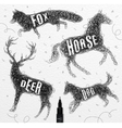 Tangled line deer black vector image vector image