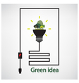 trees and green light bulb on background vector image vector image