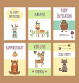 tribal animals cards cute zoo characters squirrel vector image vector image