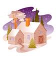 winter snow landscape house from four seasons vector image vector image
