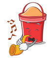 with trumpet bucket character cartoon style vector image vector image