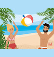 woman and man playing with beach ball and leaves vector image vector image