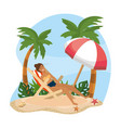 woman taking sun in tanning sun with umbrella vector image vector image