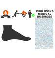 foot icon with 1300 medical business icons vector image