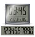 alarm digital clock black numbers vector image