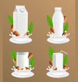 almond milk package realistic mockup set vector image vector image