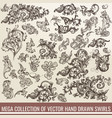 big collection of hand drawn flourishes vector image vector image