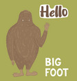 bigfoot creature cute big monster design vector image