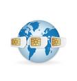 blank sim cards around earth global mobile vector image