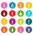 bottles icons set colorful circles vector image vector image