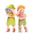 boy and girl scout children adventures vector image