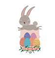 bunny jumping over frame with easter eggs and vector image vector image