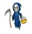 cartoon character grim reaper hold vector image vector image