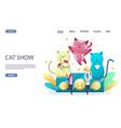 cat show website landing page design vector image vector image