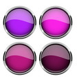 collection of violet glass buttons with chrome vector image vector image