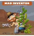 Crazy cowboy in the desert with their inventions vector image vector image