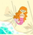 cute mermaid on beach vector image