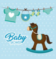 cute wooden horse baby shower card vector image vector image