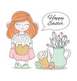 easter cake cartoon girl set vector image vector image