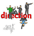 five businessmen pointing vector image