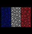 france flag collage of crossing swords icons vector image vector image