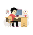 Freelancer at His Workplace vector image vector image