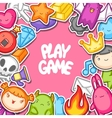 Game kawaii background Cute gaming design vector image vector image