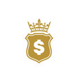 gold king shield dollar logo icon concept vector image