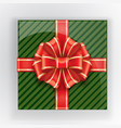 green gift box with a red bow top view vector image
