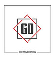 initial letter go logo template design vector image